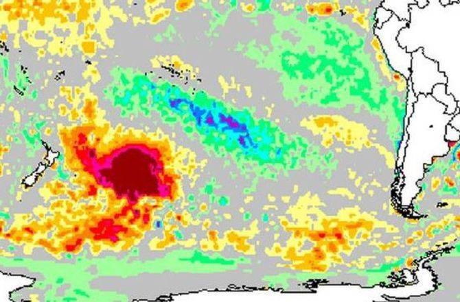 """Científicos alarmados por una """"burbuja"""" gigante de agua caliente que apareció en el Pacífico Sur"""
